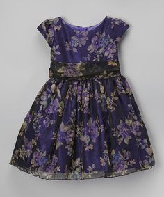 Love this Plum Floral A-Line Dress - Toddler & Girls on #zulily! #zulilyfinds