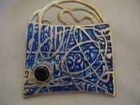 Satellite Brooch / silver metal clay, enamel, sapphire.   www.sharondoanhenderson.com