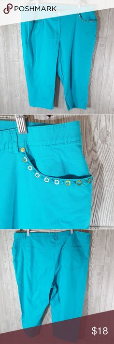 24 W ruby rd plus size aqua blue capri Excellent used condition no rips stains or tears like new. Brand is Ruby Rd and size 24 wide. Pocket embellishments along the front pockets. Stretchy waist line. Capri Style Ruby Rd. Pants Capris