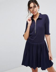 Buy it now. Unique21 Pleated Shirt Dress With Zip - Navy. Dress by Unique 21, Soft-touch ribbed fabric, Contains stretch for comfort, Point collar, Zip placket, Frill detail, Pleated skirt, Regular fit - true to size, Machine wash, 65% Cotton, 30% Polyester, 5% Elastane, Our model wears a UK 8/EU 36/US 4 and is 176cm/5'9.5 tall. , vestidoinformal, casual, camiseta, playeros, informales, túnica, estilocamiseta, camisola, vestidodealgodón, vestidosdealgodón, verano, informal, playa…