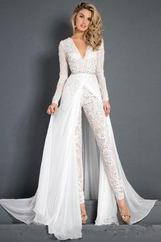 Discount 2018 Lace Chiffon Wedding Dress Jumpsuit With Train Modest V Neck Long Sleeve Beaded Belt Flwy Skirt Beach Casual Jumpsuit Bridal Gown Backless Wedding Dress Expensive Wedding Dresses From Alegant_lady, &Price; Wedding Robe, Wedding Pantsuit, Couture Wedding Gowns, Wedding Dress Chiffon, Backless Wedding, Lace Chiffon, Modest Wedding, Wedding Skirt, Gothic Wedding