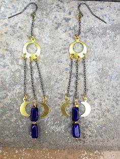 MOON CHILD Earrings //  Petite Cobalt Blue Czech by ShopParadigm, $32.00