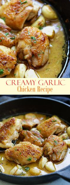 creamy garlic chicken Creamy Garlic Chicken crazy delicious skillet chicken with creamy garlic sauce. Perfect with pasta and dinner is ready in 20 mins. Turkey Recipes, Dinner Recipes, Creamy Garlic Chicken, Chicken In Garlic Sauce, Garlic Bread, Recipes With Chicken Broth, Fried Chicken, Good Food, Yummy Food