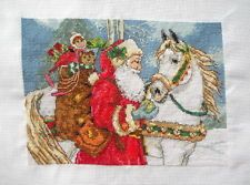 """completed finished handmade cross stitch """"Santa and horse"""""""