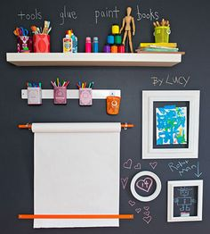 A chalkboard-paint art wall lets your crew create with abandon while supplies stay neat and tidy.