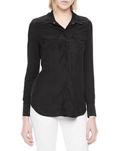 True Religion Women's Black Georgia Silk Relaxed Western Shirt Size XS NWT $168 #TrueReligion #ButtonDownShirt