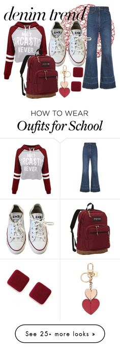 """""""college look"""" by masquerademan on Polyvore featuring Dolce&Gabbana, Converse, WithChic, JanSport, Nine West, converse, hoodie, denimtrend and widelegjeans"""