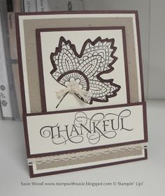 Stampin' Up!- A pretty leaf card using the sets- 'Lighthearted Leaves' & 'Six Sayings'!