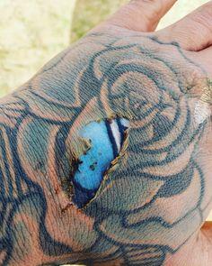 Photo Of Bright Underskin Tattoo On Burned Hand Sparks Online . Photo of Bright Underskin Tattoo on Burned Hand Sparks Online tattoo images - Tattoos And Body Art Faded Tattoo, Tattoo Video, Body Art Tattoos, Small Tattoos, Sleeve Tattoos, Tatoos, Burn Tattoo, Tebori Tattoo, Pattern Tattoos