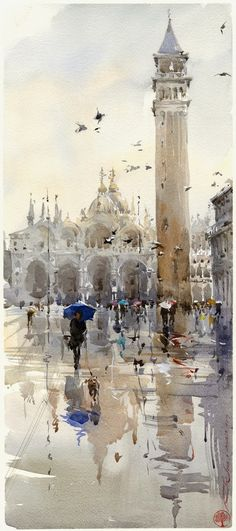 Inspiration = Scenic cityscape created using a wash of watercolours. Lines/borders of buildings have not been defined using pen, rather the strong contrast of the colour palette defines borders. Igor Sava - Venice