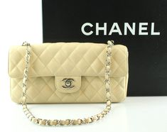 Chanel East West Beige Caviar Single Flap  2010/11 Chanel Box, Instant Messenger, Small Pen, Chanel Classic Flap, We Fall In Love, Caviar, Dust Bag, Beige, Shoulder Bag