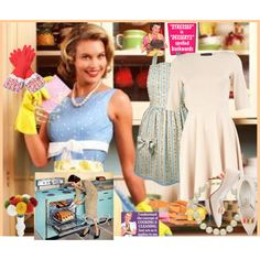 Grab a 50's style dress (you probably have one in your closet already), an apron, some dish gloves, and a string of pearls and wa-laaa! A 1950's housewife!