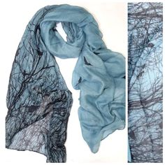 """B11 Steel Blue Black Large Tree Branch Bird Scarf ‼️ PRICE FIRM UNLESS BUNDLED WITH OTHER ITEMS FROM MY CLOSET ‼️   Retail $79  GORGEOUS SCARF!!!! 100% polyester.  42"""" wide, 72"""" long.  Please check my closet for many more items including jewelry, shoes, handbags designer clothing & more! Roder Macht Emotionen Accessories Scarves & Wraps"""