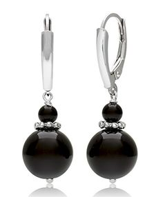 Sterling Silver Natural Black Onyx Gemstone Dangle Drop Earrings.More info for feather earrings;gold and silver earrings;rose gold earrings;large earrings;diamond earrings could be found at the image url.(This is an Amazon affiliate link and I receive a commission for the sales)