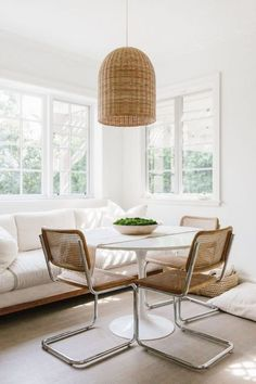 simple and minimal dining room inspiration | clean and modern home interior | natural lighting french windows