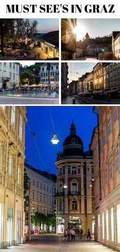 Graz ist die zweitgrößte Stadt Österreichs und hat so einiges zu bieten. Die Genusshauptstadt und ehemalige Kulturhauptstadt verströmt italienischen Flair wie keine andere Stadt in der Alpenrepublik. Als Grazerin habe ich eine abwechslungsreiche Route für einen Tag in Graz zusammengestellt. #graz #cityguide #steiermark #reiseblog #städtetrip #städtereise All Over The World, Hotels, Austria, Travel Inspiration, Travel Destinations, Places To Go, Vacation, Pictures, Highlights