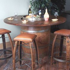 Buy the Vintage Oak Wine Barrel Bistro Table & Bar Stools (Whiskey Finish) at Wine Enthusiast – we are your ultimate destination for wine storage, wine accessories, gifts and more! Wine Barrel Crafts, Barrel Coffee Table, Whiskey Barrel Sink, Table Bar, Wine Table, Deck Table, Dining Tables, Dining Room, Barris