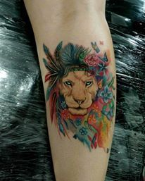 Lion color tattoo