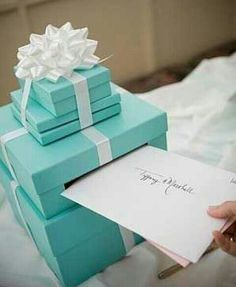 Tiffany blue Wedding Paint Cardboard boxes to make our own card box