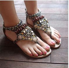 colorful beads flat sandals