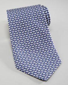 Salvatore Ferragamo Scottie Dog Tie, Navy/Aqua Blue - Bergdorf Goodman