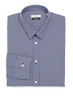 Versace Collection Trim-Fit Checked Cotton Dress Shirt - Blue - Size