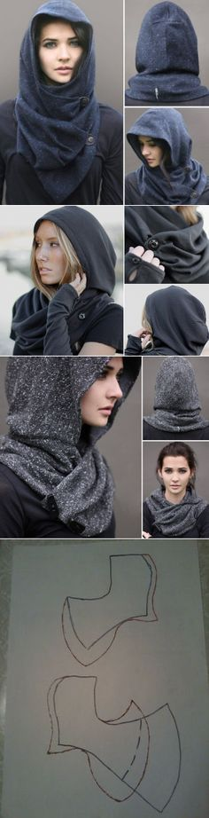 "Unusual ""hood"" (pattern) / Hats / SECOND STREET The post Sew beautiful ! appeared first on DIY Fashion Pictures. Diy Clothing, Sewing Clothes, Clothing Patterns, Sewing Patterns, Diy Fashion, Womens Fashion, Fashion Design, Diy Kleidung, Hooded Scarf"