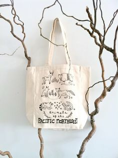 Animals of the PNW Tote by thelittlecanoe on Etsy https://www.etsy.com/listing/87078040/animals-of-the-pnw-tote