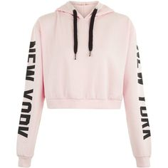 See this and similar hoodies - Shop Parisian Pink New York Slogan Cropped Hoodie. Discover the latest trends at New Look. Hoodie Sweatshirts, Pullover Hoodie, Hoodie Jacket, Sweater Hoodie, Crop Top Hoodie, Cropped Hoodie, Cropped Tops, Crop Top Jacket, One Direction Shirts