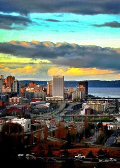 View of downtown and Port of Tacoma