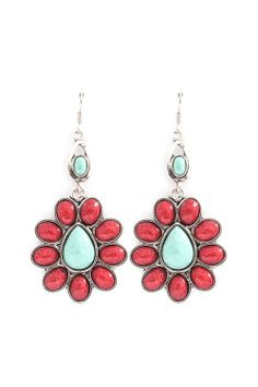 Coral & Turquoise Earrings in Silver, Awesome