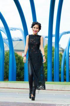 nini's style: lace apron top Vietnamese Traditional Dress, Vietnamese Dress, Traditional Dresses, Ethnic Fashion, Asian Fashion, Indian Fashion Modern, High Fashion, Indian Dresses, Indian Outfits