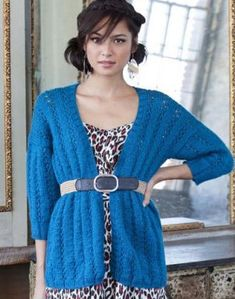 Coastal Blue Cardigan / Hate the belt with this but the vertical lines and 3/4 sleeves are great.