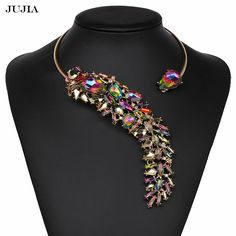 7 Colors Europe New Personality Punk Jewelry Gold Metal Charm Neck Pendant Cuff Chocker Statement Necklaces #Affiliate