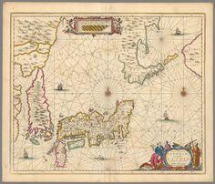 Vintage Old decorative map Algeria Tunisia Visscher 1690 paper or canvas