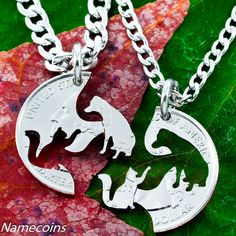 Cat and Dog Necklace Set, Interlocking Pet hand cut coin