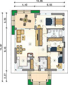 Rzut AT Pelikan IV CE Studio Apartment Plan, Apartment Plans, Modern House Floor Plans, Small House Plans, Small Villa, House Plans Mansion, Home Projects, Sweet Home, House Design