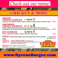 Check out our menu!  www.GyreneBurger.com  865-281-5426  #GyreneBurgerKX  1927 Cumberland Avenue, Knoxville, TN 37916  Call Today For Pickup Or Delivery  Order Online Now ➡️    www.GyreneBurger.com