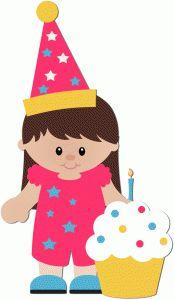 Silhouette Design Store - View Design birthday girl with cupcake Birthday Clips, Art Birthday, Happy Birthday, Girl Background, Silhouette Online Store, Cute Clipart, Happy B Day, Silhouette Design, Party Hats