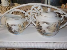 Hand Painted China / Creamer and Sugar Bowl by Daysgonebytreasures