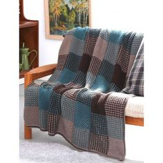 Patons Plaid Texture Afghan Free Easy Knit Pattern. Simple techniques and striping create the illusion of plaid in this quick and easy afghan. Skill Level: Easy Knitting Stitches: Plaid Free Pattern