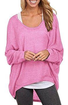 XF Womens Sheer Oversized Baggy Shirt Long Sleeve OffShoulder Knitwear Tops 1416 Pink