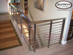 Browse our glass and cable railing idea photo gallery. Plan your next cable railing or glass system project with Ironwood Connections. Stainless Steel Cable Railing, Newel Posts, Curved Staircase, Modern Stairs, Stairways, Deck, Interior Design, Fencing, Remodeling Ideas