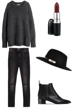 Winter Wishlist Look Book Acne boots, Zara jeans, H&M sweater, River Island Hat, Mac Diva Lipstick
