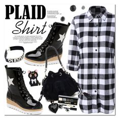 """""""Plaid Shirt"""" by oshint ❤ liked on Polyvore featuring Bobbi Brown Cosmetics and Lipsy"""