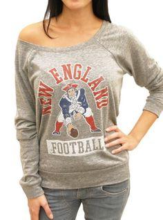 Cute Patriots off the shoulder triblend raglan tee. Go New England Patriots! $44 http://www.junkfoodclothing.com/webapp/wcs/stores/servlet/Product1_10052_10051_-1_22326_20558_20570