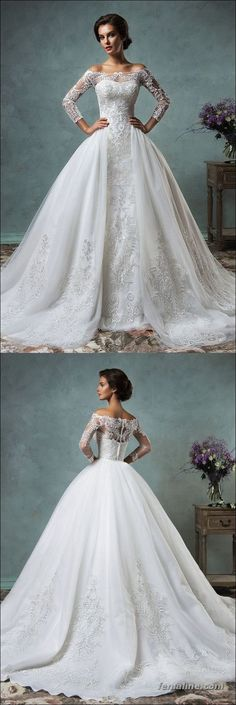 Elegant Tulle Sleeve 2020 Wedding Dress Lace Appliques Ball Gown, Shop plus-sized prom dresses for curvy figures and plus-size party dresses. Ball gowns for prom in plus sizes and short plus-sized prom dresses for Lace Wedding Dress With Sleeves, Long Sleeve Wedding, Perfect Wedding Dress, Dress Lace, Lace Sleeves, Gown Dress, Elegant Wedding Gowns, 2016 Wedding Dresses, Wedding Dress Styles