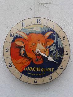 ancienne horloge en tole vache qui rit no plaque émaillée