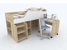 Комплект Мебели Sunny-1: кровать-чердак, полки и рабочее место для ребенка. Kids bed loft