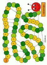 Calculation track - game board (various calculation skills)- Rekenrups – spelbord (diverse rekenvaardigheden) Calculation track – game board (various calculation skills) - Eric Carle, Very Hungry Caterpillar, Chenille, Table Games, Board Games, Creations, Projects, Kids, Desk Ideas